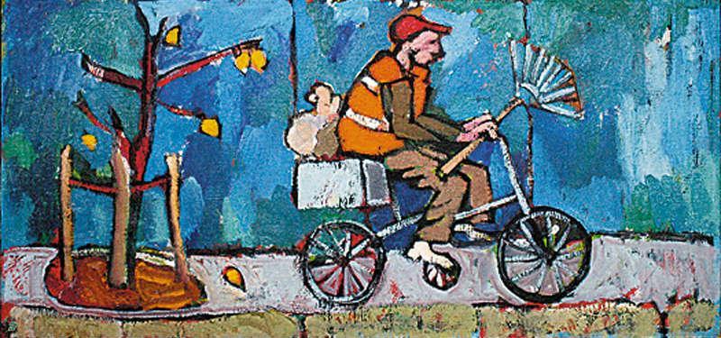 """Саша Овчинника. """"Дворник едет-едет"""", 55х115 см, холст, масло, 2011 г."""