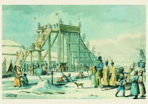 Ледяные горы на Неве. А.Г.Убиган.1817. Бумага, литография, акварель. ГМИ СПБ