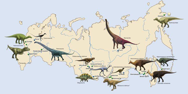 Основные местонахождения динозавров в России. Автор рисунка – палеоиллюстратор Андрей Атучин
