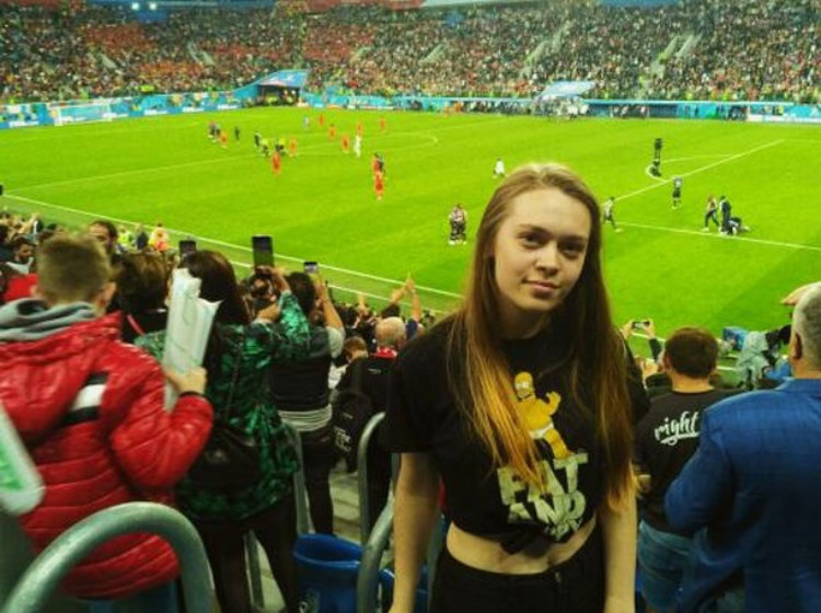 Саша на матче Франция – Бельгия