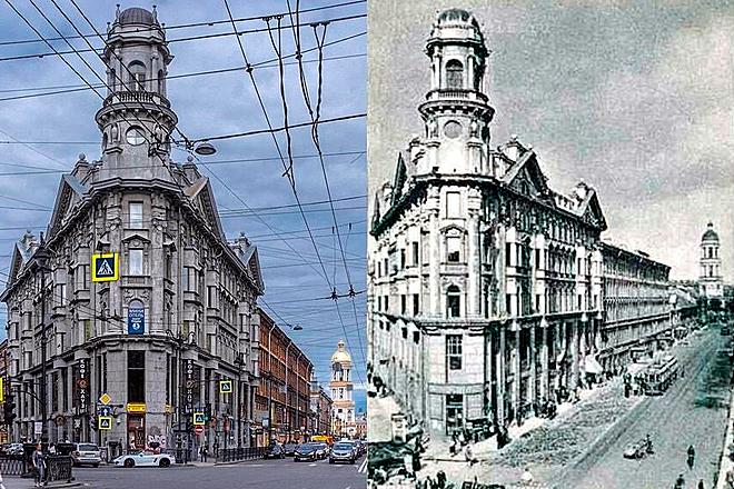 Дом Иоффа в наши дни и в 1915 году