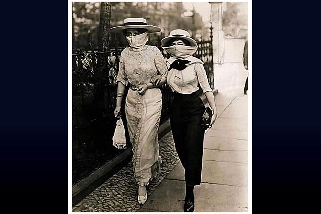 Во время эпидемии испанки женщины оставались модницами даже в масках